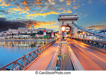 Chain Bridge, Royal Palace and the Danube River in Budapest
