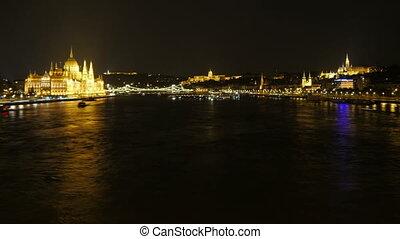 Chain Bridge view at night, Budapest, Hungary, timelapse