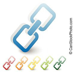 Chain, chain link icon in several colors.