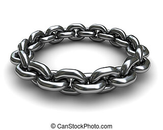 chain circle - 3d illustration of chain ring over white...