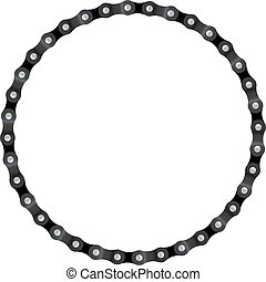 Chain Circle - Realistic drawing of a circle made from bike...