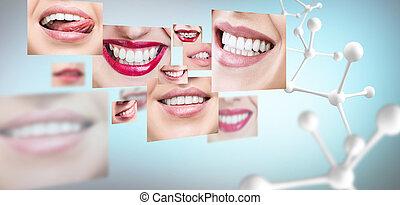 chain., collage, grande, molecola, denti sani