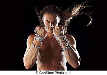 chain., conceito, fraturas, jovem, longo, resistência,...
