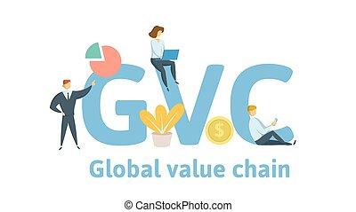 chain., concetto, lettere, illustration., appartamento, globale, isolato, valore, fondo., vettore, icons., gvc, bianco, keywords