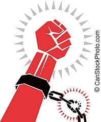 chain., esclave, liberté, casse, prisoners., poing serré, chaînes, bras, rouges
