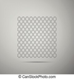 Chain Fence icon isolated on grey background. Metallic wire mesh pattern. Flat design. Vector Illustration