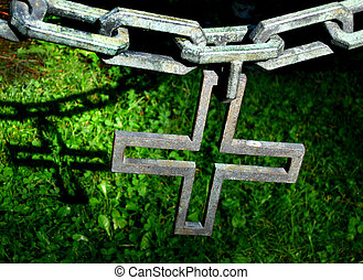 Chain fence with cross