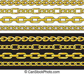 chain., fronteras, seamless, oro, set.