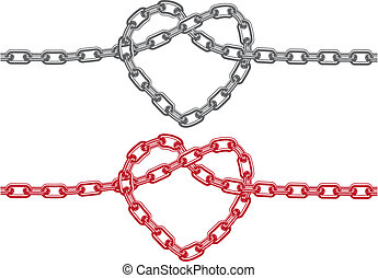 heart made of chain, vector