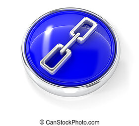 Chain icon on glossy blue round button