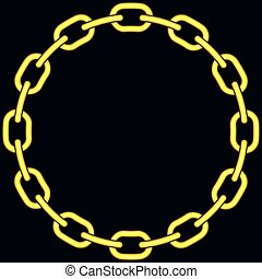 Chain - Illustration of the abstract gold chain on black...