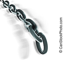 Chain in motion, isolated