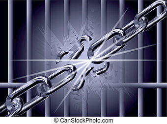 chain is broken into fragments. symbol of freedom.