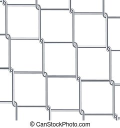Chain Link Fence Background. Industrial Style Wallpaper. Realistic Geometric Texture. Steel Wire Wall Isolated On White. Vector illustration