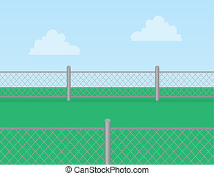 Chain Link Fence Grass - Chain linked fence in grassy field...