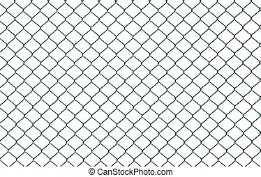 Chain link fence - Green chain link fence isolated on white