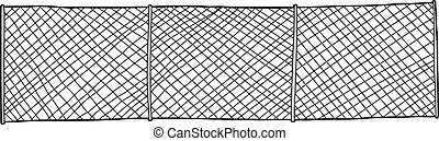 Chain Link Fence - Hand drawn chain link fence background on...