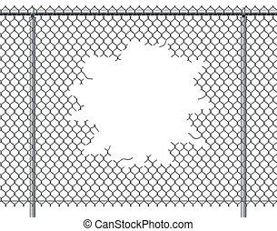 Chain Link Fence Hole - Chain link fence hole with blank...