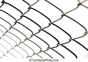 chain link fence isolated on white