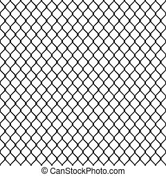 Chain link fence seamless pattern, black silhouette on white