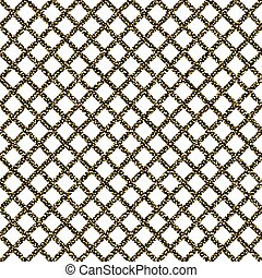 Chain-link fencing gold glitter seamless pattern.