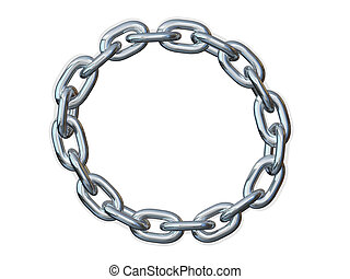 Chain link Frame border Circle - Metal chain shaped in a...