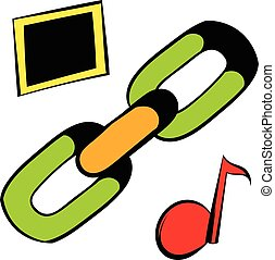 Chain link icon, icon cartoon