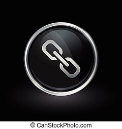 Chain link icon inside round silver and black emblem