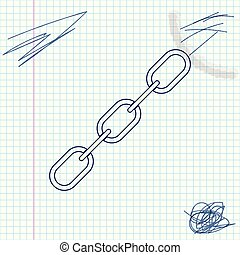 Chain link line sketch icon isolated on white background. Link single. Vector Illustration