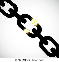 Chain link with fragmentation. Damage, obstacle, stress, bad...