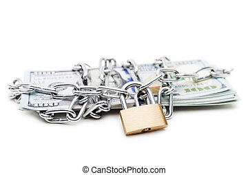 Chain link with padlock on dollar currency money