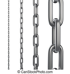 Chain links of different scale isolated on white