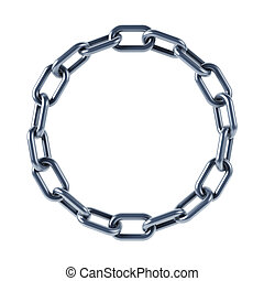 isolated chain links 3d rendering
