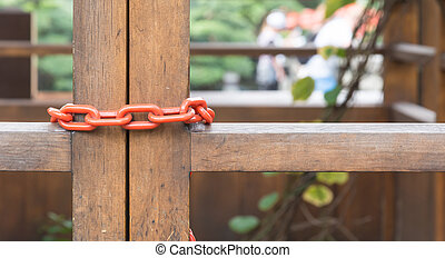 chain locked on wood door