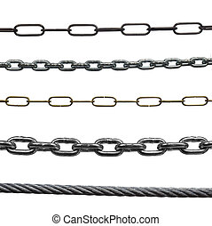 collection of various chains on white background. each one is in full cameras resolution