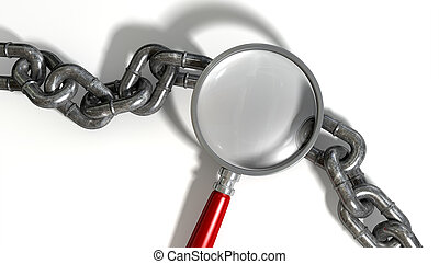Chain Missing Link Magnifying Glass - A worn metal with a...