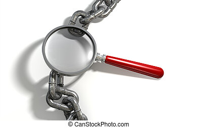 Chain Missing Link Magnifying Glass