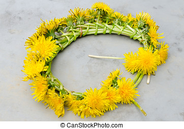 Chain of dandelions - Dandelions tied together in a chain
