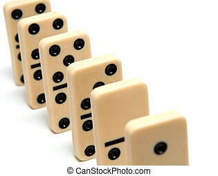 Chain of dominoes on a white background