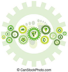 Chain of gear wheels filled with bio eco environmental icons and symbols