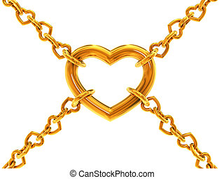 Chain of hearts holding one big heart isolated 3d model ...