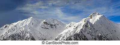 chain of mountains in the winter