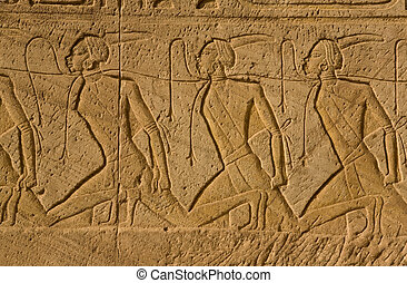 Chain of nubian slaves - Bas-relief which shows the Nubian...