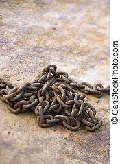 Chain on rusty metal.