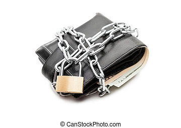 Chain padlock on leather wallet full of dollar currency money