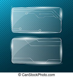 Chain. Rectangular transparent glass on a transparent blue background. New technologies . Cyber-texture. Pattern on the glass. A modern plate with a silver pattern. 3d, Transparent illustration