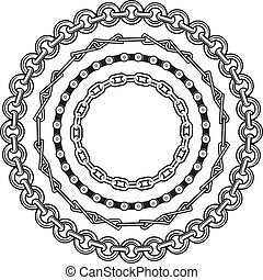 Chain Rings - Clip art of various circular chain designs