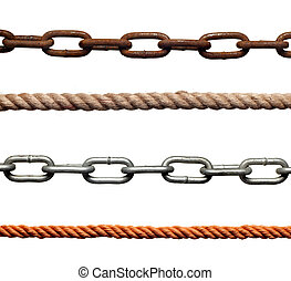collection of chains and ropes on white background. each one is in full cameras resolution