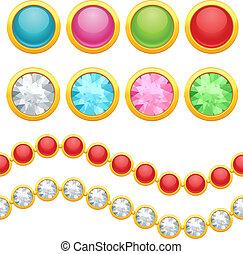 chain., satz, jewelery, seamless, tasten, runder