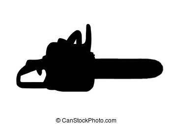 illustration, black silhouette of a chainsaw isolated on white background